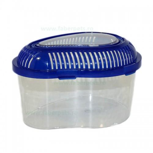 Acvariu plastic oval pentru animale mici 27x21x16 cm