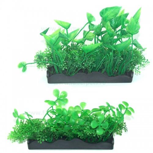 Plante artificiale acvariu cu talpa dreptunghiulara 12*8 cm 3/set