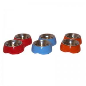 Castron plastic si metal dublu oval 2x0.1 l