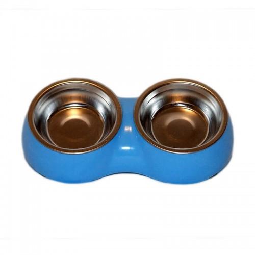 Castron dublu plastic si metal oval 2x0.1 l