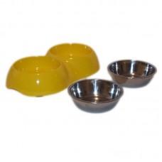 Castron dublu plastic si metal oval 2x0.2 l