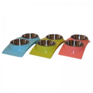 Castron dublu plastic si metal dreptunghiular arcuit 2x0.3 l
