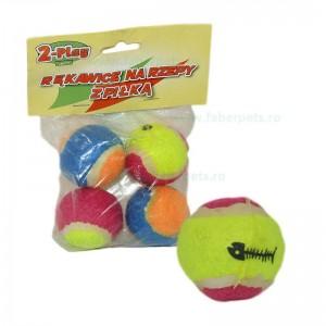 Jucarie minge tenis din cauciuc cu diametru 5 cm 4/set