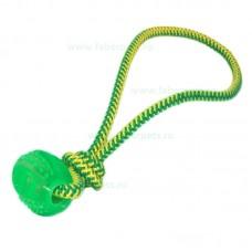 Jucarie funie cu bucle si minge cauciuc 35 cm