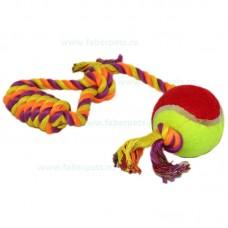 Aport funie bumbac cu bucla mica si minge tenis 38 cm