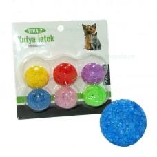 Jucarie pisici mingi colorate 3,5 cm 6/set