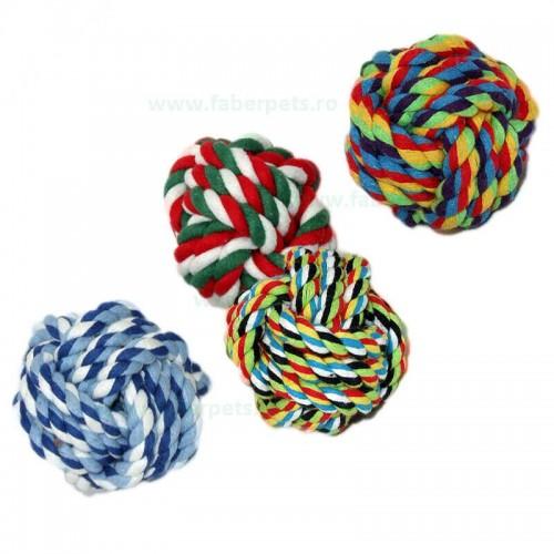 Jucarie minge funie impletita din bumbac 7,5 cm