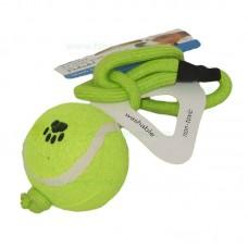 Jucarie minge tenis cu sfoara 7 cm