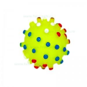 Jucarie minge cauciuc cu crestaturi si sunet 6,5 cm