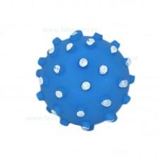 Jucarie minge cauciuc cu crestaturi si sunet 10 cm