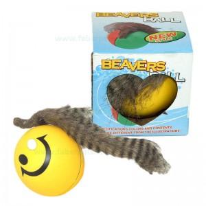 Jucarie pisici minge castor cu baterie 9 cm