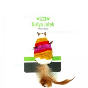 Jucarie pisici soricel cu pene 8 cm