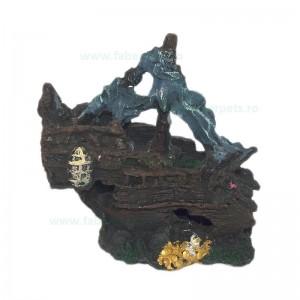 Ornament acvariu epava corabie mare 25 x 24 cm