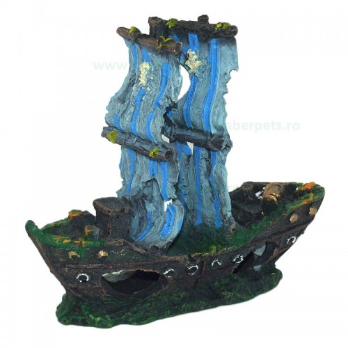 Ornament acvariu epava corabie tip 7343 13 x 11 cm