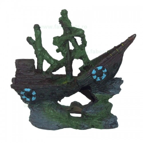 Ornament acvariu epava corabie tip 25468 16 x 15 cm