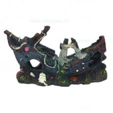 Ornament acvariu epava corabie mare 25 x 15 cm