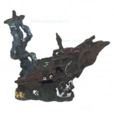 Ornament acvariu epava corabie mare 30 x 26 cm