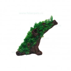 Ornament acvariu de buturuga cu iarba 10 cm