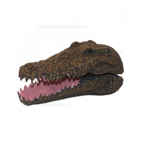 Ornament acvariu cap de crocodil cascator 13 cm